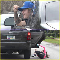 Justin Bieber Chased By Fan Who Falls Out of Car
